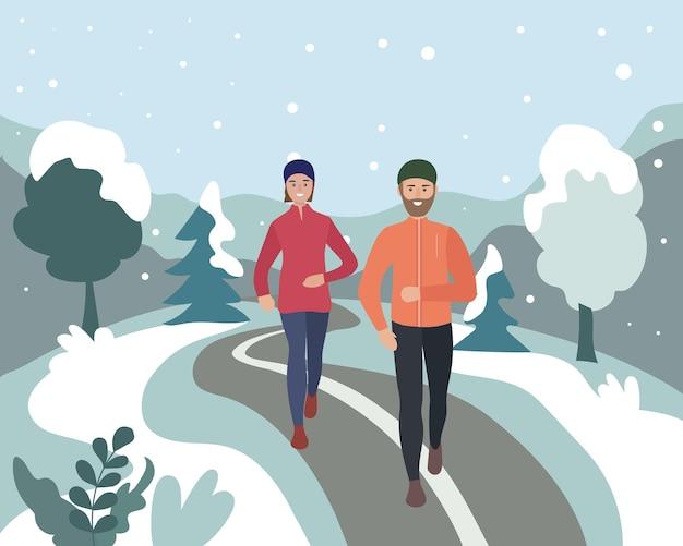 Um homem e uma mulher correndo em um parque de inverno