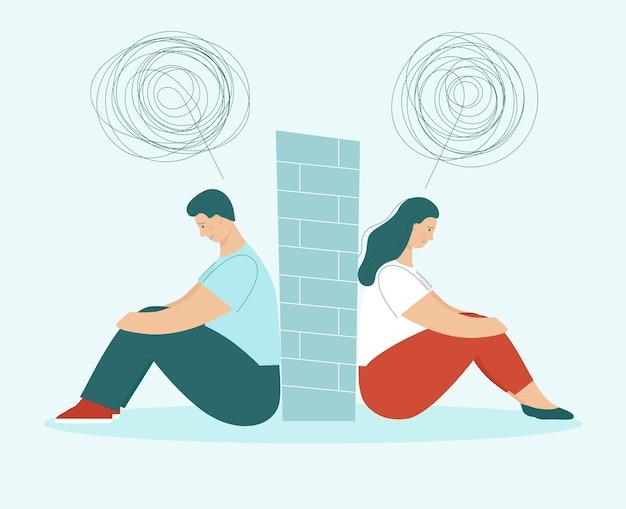 Um homem e uma mulher em uma briga. o casal senta-se de costas um para o outro. problemas nos relacionamentos, conflitos. marido e mulher em desacordo. parede entre eles. ilustração em vetor plana
