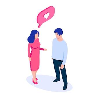 Um homem e uma mulher estão falando sobre amor pessoas isométricas e ícone de caixa de bate-papo com coração