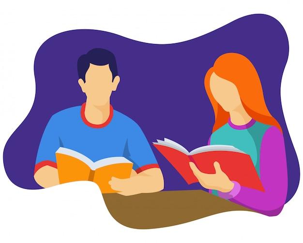 Um homem e uma mulher leram um livro juntos na biblioteca do campus.