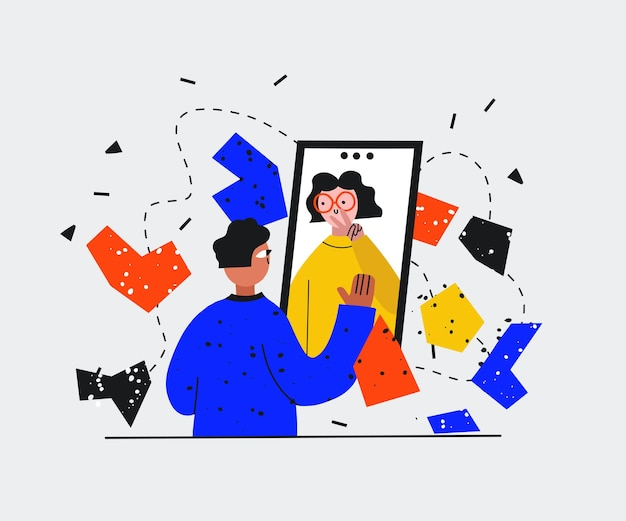 Um homem e uma mulher se comunicam em uma videochamada