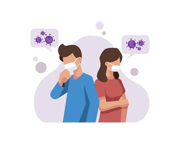 Um homem e uma mulher usam uma máscara para impedir a transmissão do coronavírus Vetor Premium