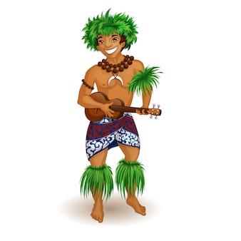 Um homem em roupas havaianas com um ukulele em suas mãos.