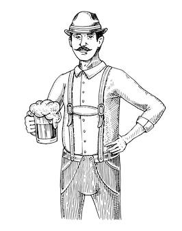 Um homem em roupas tradicionais belgas ou bávaras com cerveja. gravado na mão de tinta desenhada no desenho antigo e estilo vintage para menu web ou pub. da oktoberfest.