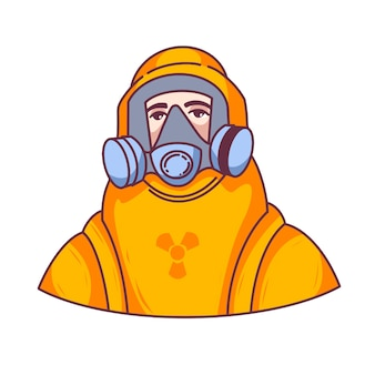 Um homem em um traje de proteção, coronovírus, proteção