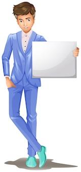 Um homem em um traje formal, segurando uma placa vazia