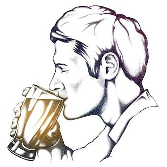 Um homem está bebendo de uma caneca. ilustração vetorial