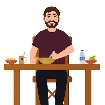 Um homem está comendo comida