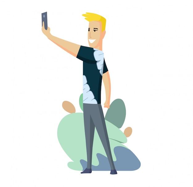 Um homem está falando de um selfie com smartphone. mensageiro de vídeo. transmissão ao vivo