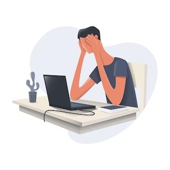 Um homem está frustrado na frente de um laptop
