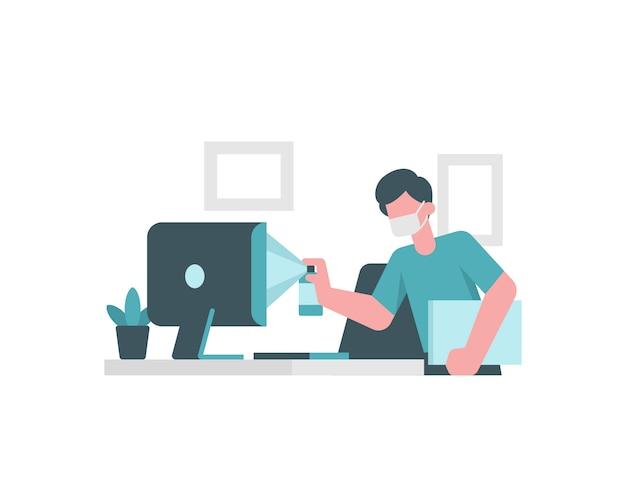 Um homem está limpando o computador antes de trabalhar em casa