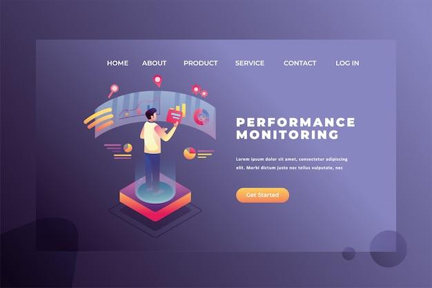 Um homem está monitorando o desempenho do trabalho cabeçalho da página da web ilustração do modelo da página de destino