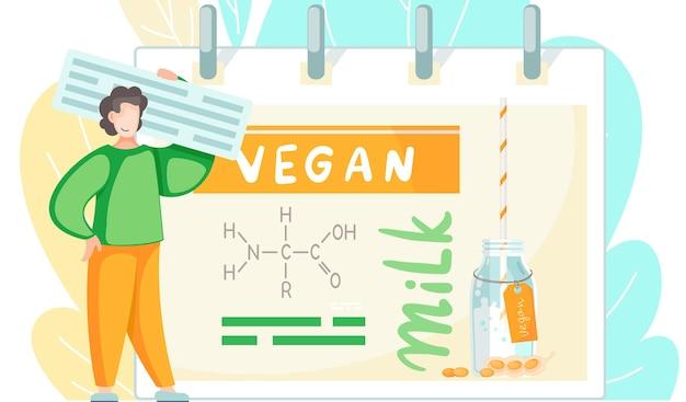 Um homem está parado perto de um pôster estudando fórmula de leite vegano