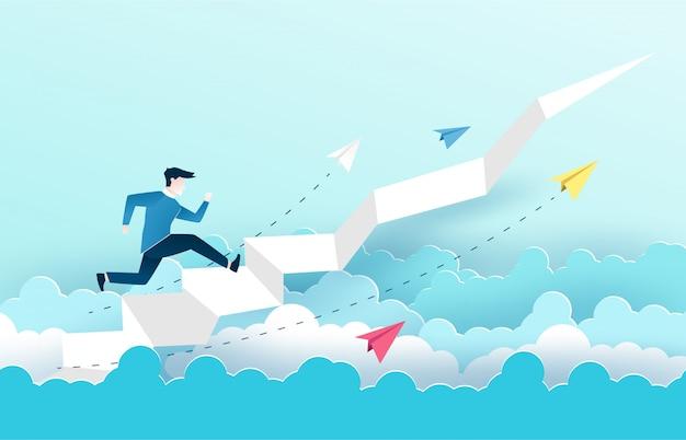 Um homem está pulando nas escadas, passos para o sucesso.