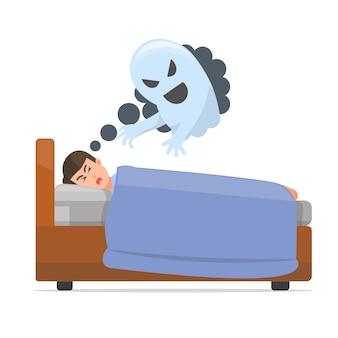Um homem está tendo um pesadelo durante o sono
