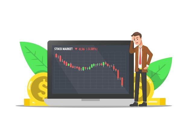 Um homem estressado porque o preço das ações caiu drasticamente