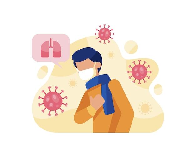 Um homem experimenta falta de ar devido ao coronavírus