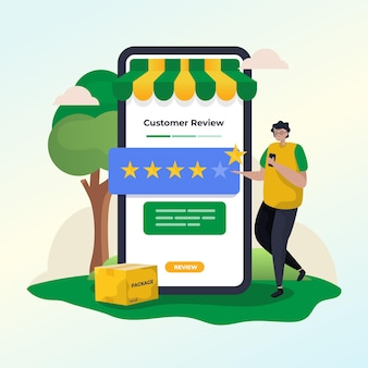 Um homem faz uma avaliação de uma loja online e uma ilustração de classificação de cinco estrelas