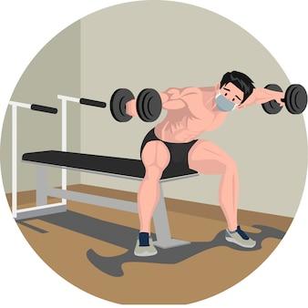 Um homem fazendo exercícios em casa usando ilustração com barra