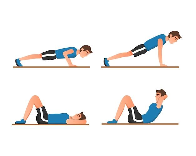 Um homem fazendo flexões e abdominais