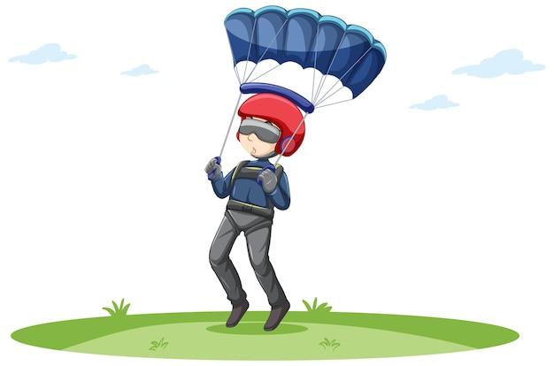 Um homem fazendo paraquedas