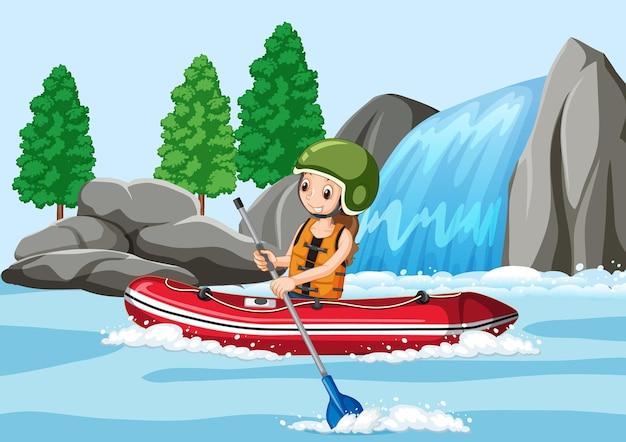 Um homem fazendo rafting na cena do rio