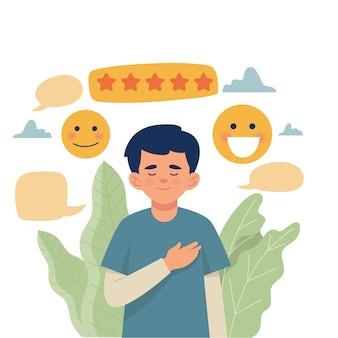 Um homem feliz recebe uma classificação de cinco estrelas