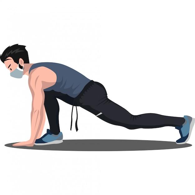 Um homem fez alguma pose de fitness enquanto usava ilustração de máscara médica