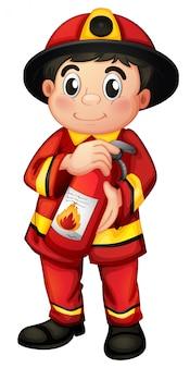 Um, homem fogo, segurando, um, extintor fogo