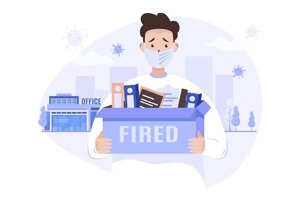 Um homem foi demitido de seu conceito de ilustração de trabalho