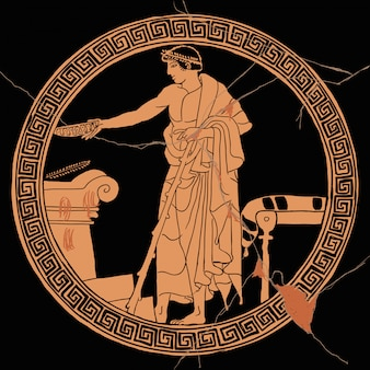 Um homem grego antigo realiza um ritual de sacrifício perto de um altar de pedra com um copo na mão.