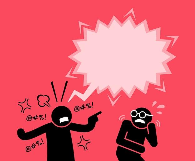 Um homem gritando e gritando com seu amigo. ele está culpando e acusando-o de transgressão.