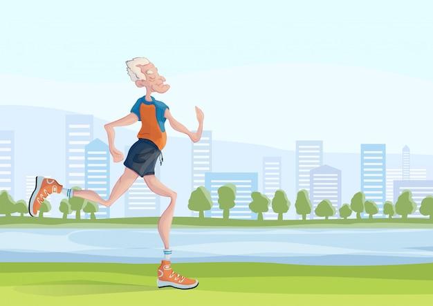 Um homem idoso de cabelos grisalhos pratica corrida ao ar livre.