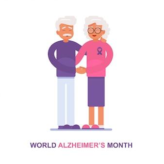 Um homem idoso e sua esposa com doença de alzheimer apóiam um ao outro