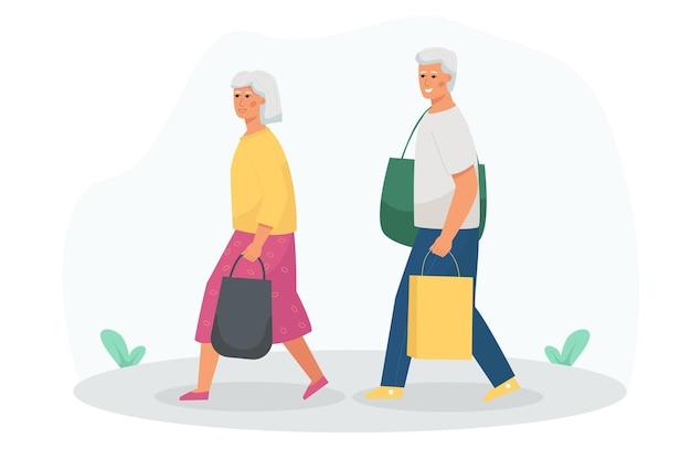 Um homem idoso e uma mulher vão às compras.