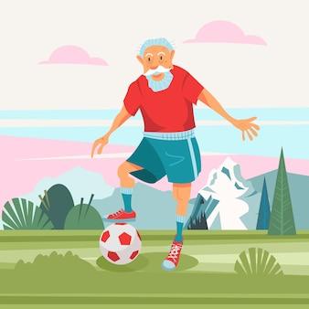 Um homem idoso está jogando futebol.