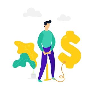 Um homem infla um balão de dólar com uma bomba. vetor.