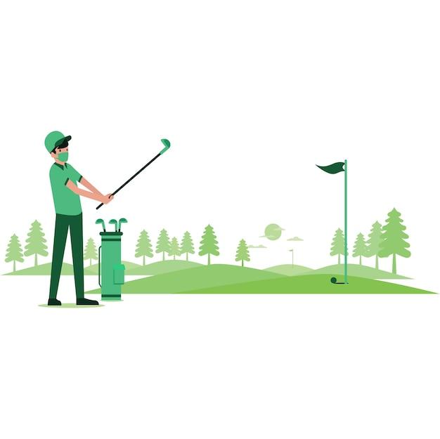 Um homem jogando golfe sozinho no campo de golfe durante o feriado