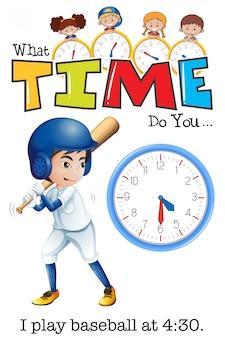 Um homem jogar beisebol às 4:30