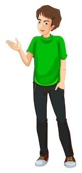 Um, homem jovem, desgastar, um, camisa verde