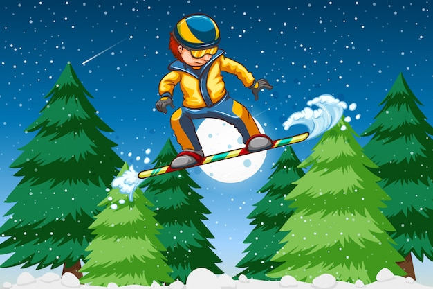 Um, homem jovem, snowboarding
