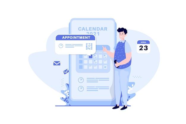 Um homem marca uma consulta no conceito de ilustração de calendário móvel