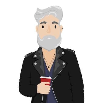 Um homem moderno com cabelos grisalhos e barba em uma jaqueta de motoqueiro de couro com uma xícara de café. subcultura, moda. ilustração dos desenhos animados