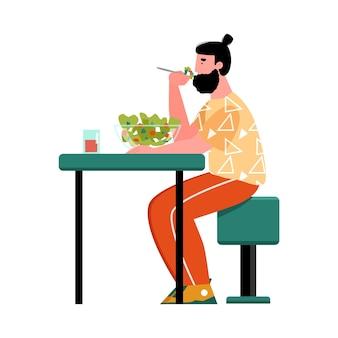 Um homem moderno comendo uma salada de ilustração de desenho animado