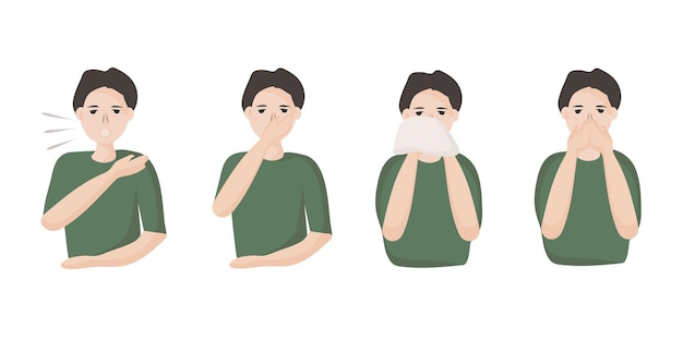 Um homem mostra como espirrar e tossir para evitar a propagação de vírus e infecções