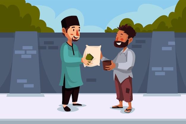 Um homem muçulmano faz uma doação