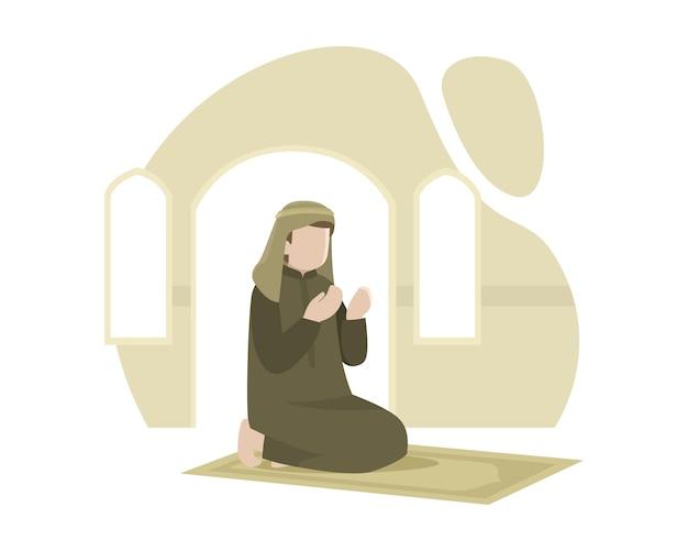 Um homem muçulmano reza no tapete de oração na ilustração da mesquita