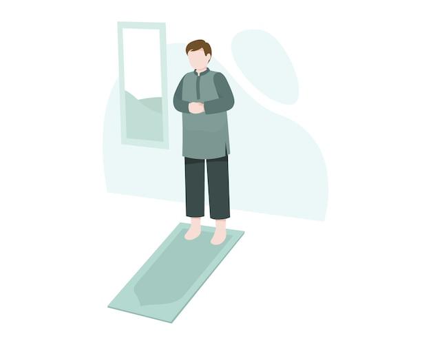 Um homem muçulmano rezar ou salat no tapete de oração em casa ilustração