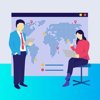 Um, homem mulher, verificar, localizações, em, um, mapa mundial