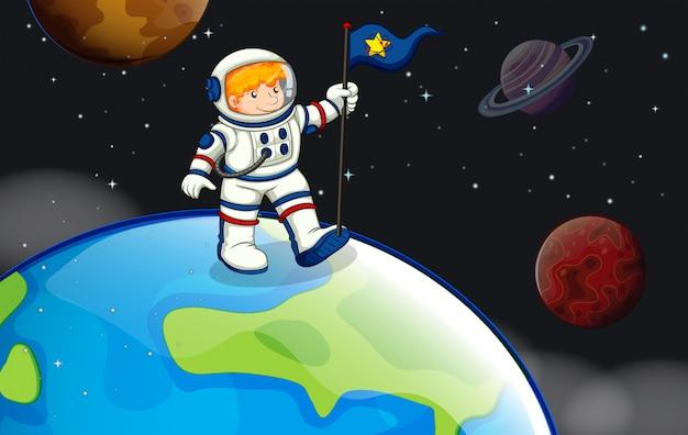 Um homem no espaço sideral